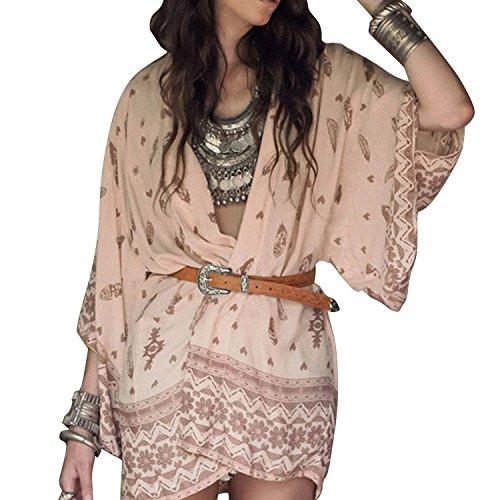 Pretid Sexy Women Deep V See Through Blouse Casual Loose Long Beach Coat Tops