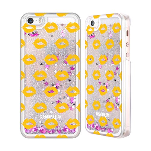 Official Cosmopolitan Gold Kiss Mark Silver Liquid Glitter Case Cover for Apple iPhone 5 / 5s / SE