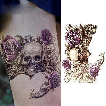 Oottati Tatuajes Temporales Old School Cráneo Rosa Púrpura (2 ...