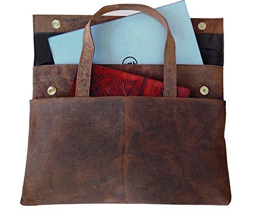 DH Holland Vintage Leather Briefcase, Men's Premium Retro...