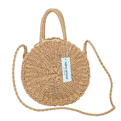 Large Straw Beach Bag with Inner Pouch by Hera Amour | Crossbody Summer Beach Tote with Top Handles