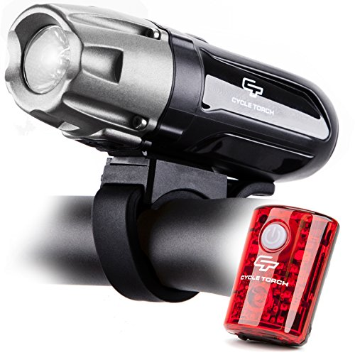 Cycle Torch Shark 550R USB Rechargeable Bike Light Set, Removable Battery- Bright USB LED Tail Light - Bicycle Light - Easy Install & Quick Release (Best Led Cycle Lights)