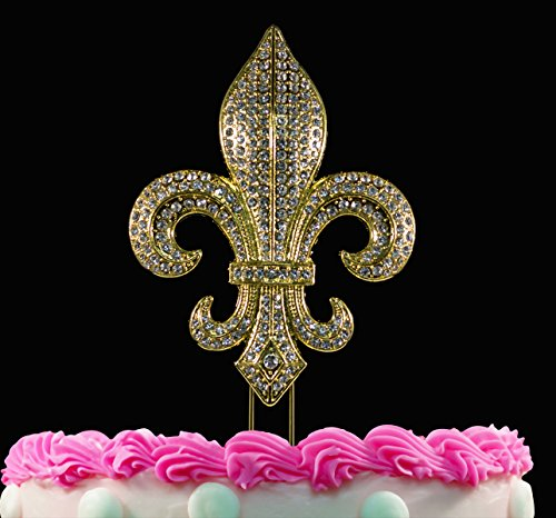 (Fleur De Lis Cake Topper Gold Crystal Bling Party Cake Toppers Caketop )