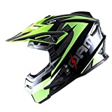 1Storm Adult Motocross Helmet BMX MX ATV Dirt Bike Helmet Racing Style HF801; Sonic Yellow