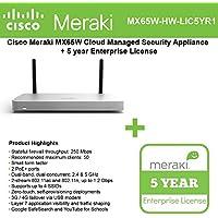 Cisco Meraki MX65W Small Branch Wireless Appliance, 250Mbps FW, 12xGbE Ports - Includes 5 Years Enterprise License