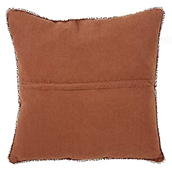 SARO LIFESTYLE Pomponin Collection Pom Linen Down-Filled Throw Pillow, 20 , Terracotta