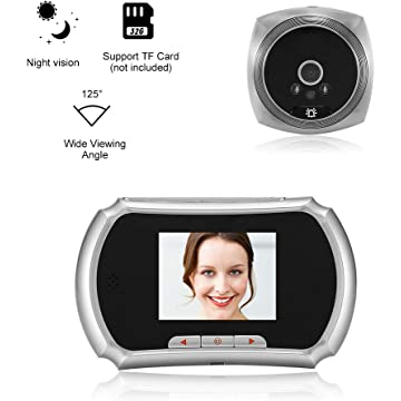 OWSOO 1.3MP Peephole Door Camera 3-Inch LCD Screen Monitor Video Door Viewer Door Eye Doorbell PIR Motion Detection Photo Taking Video Recording for Home Security, Silver