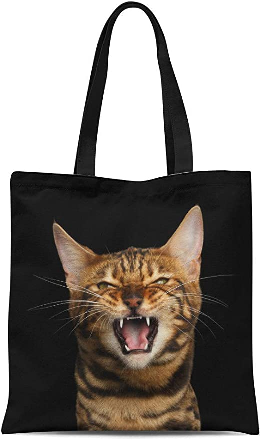 Cat Mom Funny Meow Reusable Shopping Bag Beach Tote Womens Ladies Shopper Pet