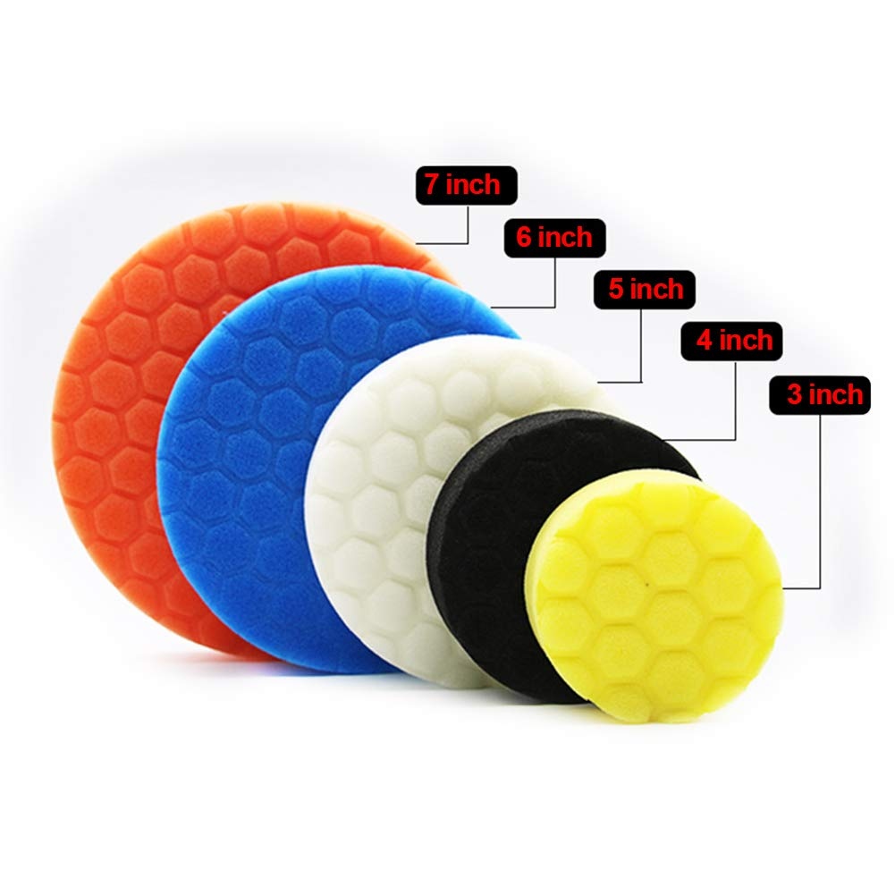 5Pcs Hook /& Loop Polishing Foam Head Kit 3 inch,Multicolor Strong Polyester Sponge /& Durable Car Sanding Auto Car Polisher Buffer Set with Drill Adapter Kit