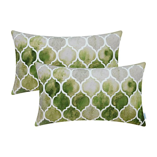 CaliTime Pack of 2 Cozy Bolster Pillow Cases Covers Couch Bed Sofa Manual Hand Painted Colorful Geometric Trellis Chain Print 12 X 20 Inches Main Grey Green Olive (Lumbar Pillow Green)