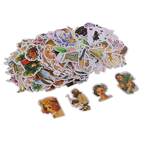 Fityle Vintage Scrapbooking Supplies Scrapbook Decorative Cardstock Die-Cut Pack,162 Pieces Assorted Colors/Designs Embellishments Kinds Patterns