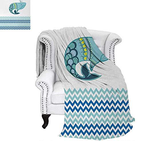 - Lightweight Blanket Big Ornamental Tailed Design Whale with Zig Zag Pattern Ocean Wave Artwork Print Digital Printing Blanket 70