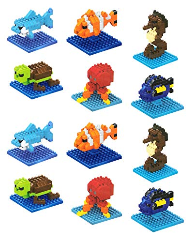 Quest Toys Finding Seas Animals Fish Mini Building Bricks Minifigure Toy (Set of 12) by Quest Toys
