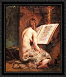 The Penitent Magdalen 28x32 Large Black Ornate Wood Framed Canvas Art by William Etty