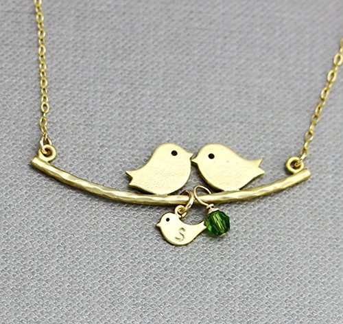 Mom Dad and Baby Bird Necklace, Personalized Birthstone Charm Family Necklace, Multiple Child Initial Silver or Gold or Rose Gold Bird Jewelry