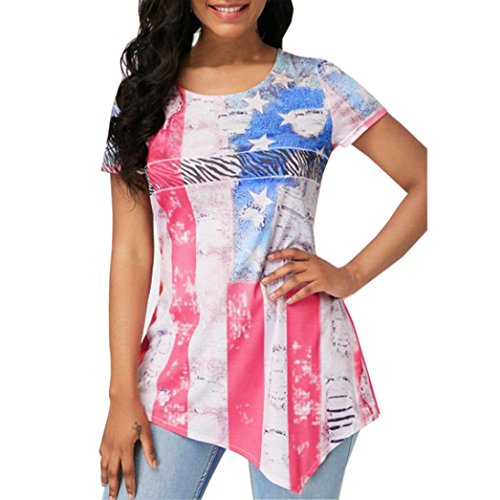 Peize 2018 American Flag Women T-Shirts, Women Summer V Neck Off Shoulder Flag Print Floral Casual Blouse Shirt Tops(XL, WH) - Anne V Swimsuit