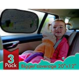 Kinder Fluff 80 GSM Dark Collection Car Window Shade, Extra Large - 3 Pack