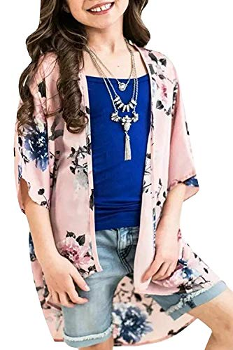 Youxiua Girls Boho Floral Kimono Cardigan Summer Loose Casual 3/4 Sleeve Cover Up Blouses Pink