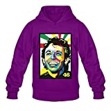 MARY Men's Valentino Motorcycle Player Rossi 46 Hoodie Purple]