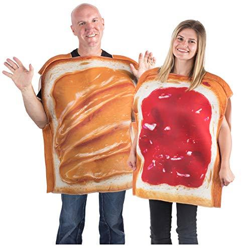 Unique Partner Halloween Costumes (Tigerdoe Peanut Butter & Jelly Costume Set - Couples Costumes - Food Costumes - Costumes for Adults - 2 Pk (PB&J Couples)