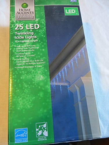 25 Light Led Blue Icicle Lights With Twinkle Function