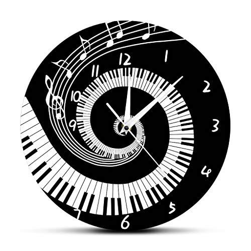 xushihanjjli Wall Clock,Stylish Modern Wall Clocks Elegant Piano Keyblack and White Music Notewave Round Music Keyboard Music Lover Pianist Gift Kitchen Office School Bedroom Living Home Decor