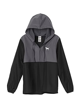 1d2ec5548384c Victoria s Secret Pink Anorak Windbreaker Jacket Quarter-Zip Black Grey XS   S at Amazon Women s Coats Shop