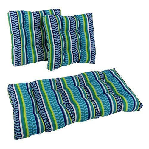 Blazing Needles Squared Patterned Spun Polyester Tufted Settee Cushions Set, Set of 3, Westport Teal - Westport Settee