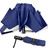 Nesus Umbrella Windproof Travel Umbrella 8 Ribs Auto Open Close with Waterproof Canopy Compact Folding Reverse Umbrella(Blue)