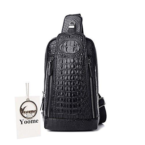 Yoome Luxury Men's Crocodile Genuine Leather Crossbody Shoulder Bag Hiking Sling Daypack Casual Satchel Bag Purse Messenger Bag
