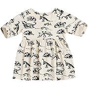 Mini honey Infant Baby Girls Summer Playwear Sun Dresses One-Piece Dress With Dinosaurs Print (6-12 Months, Beige)