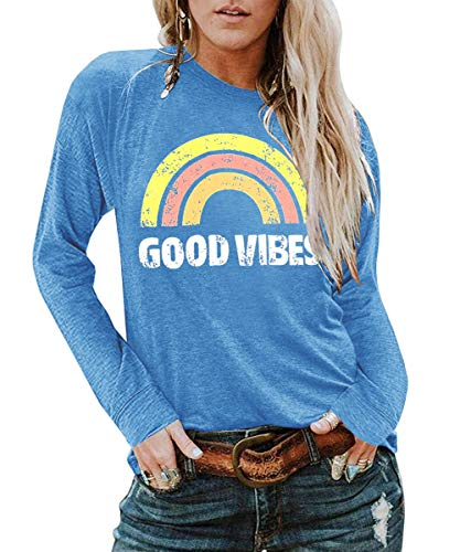 YEXIPO Womens Graphic Tees Good Vibes Shirt Short Sleeve Funny T Shirts Rainbow Print Cute Summer Tops (X-Large, Z-Blue)