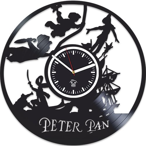Peter Pan Vinyl Wall Clock, Wendy Gift, Disney Cartoon, Handmade Best Gift for Kids, Vinyl Record Clock, Valentines Day Gift For Him, Kovides, Birthday Gif For Girl, Wall Clock Modern (Modern Wall Clock Baby)
