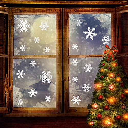 - 162 PCS Snowflakes Window Clings White Christmas Stickers Decal Removable Wonderland Decorations Xmas Wall Stencils Door Showcase Mural Winter Template Women Ornaments DIY Party Supplies (6 Sheets)