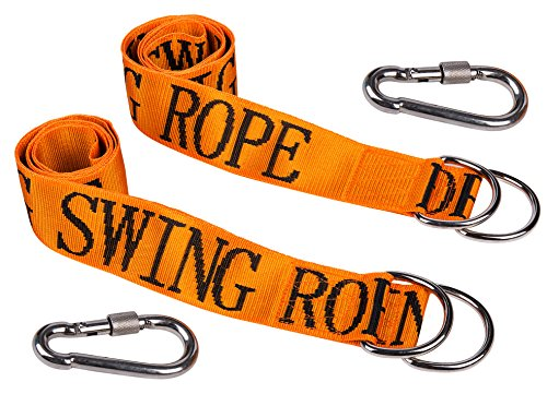 """Price comparison product image HIG Tree Swing Straps - Safety Swing Handing Rope, Adjustable and Easy Installation, Swing Rope With Heavy-Duty Hooks (59""""Long, 2""""Wide, Set of 2 Straps)(Orange)"""