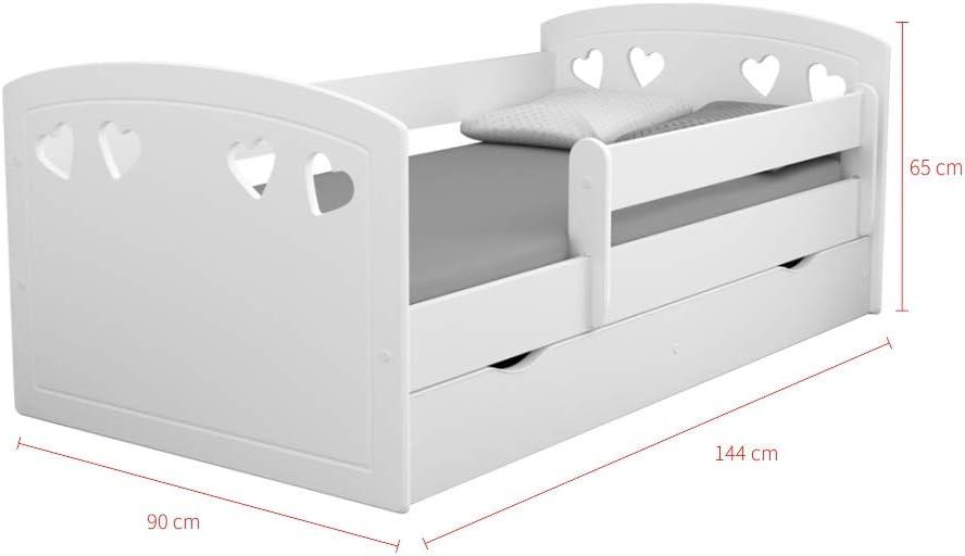 Lit Enfant avec barri/ère de s/écurit/é Blanc, 140x80 cm, avec tiroir de Rangement, Matelas Inclus Selsey DERATA