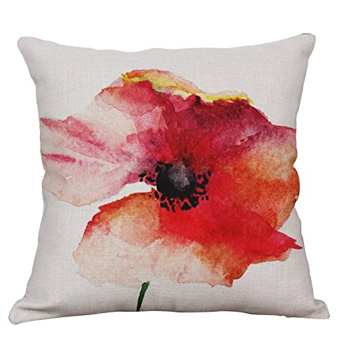 Lotus Cushion Cover - YeeJu Lotus Plant Decorative Throw Pillow Covers Square Cotton Linen Cushion Covers Outdoor Sofa Home Couch Pillow Covers 18x18 Inch