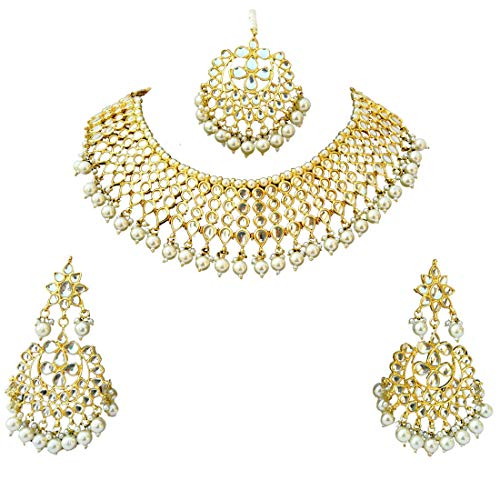 Finekraft Meena Kundan Gold Plated Bridal Look Jewelry Necklace Set (Kundan Jewelry)