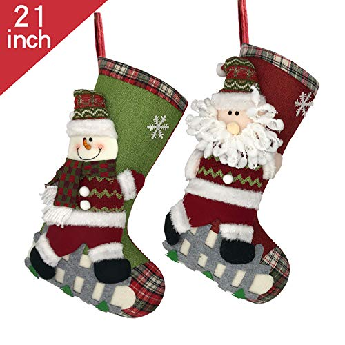 ETERAMUS 18 inch Plaid Christmas Stockings Set of 2,Large Burlap Xmas Socks 2 Pack with Snowflake,3D Plush Santa,Felt Snowman,Tree for Family Holiday Hanging. (2, 21)