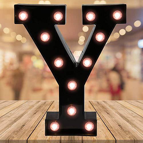 Oycbuzo Light up Letters LED Letter Black Alphabet Letter Night Lights for Home Bar Festival Birthday Party Wedding Decorative (Black Letter Y)