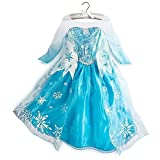 1pc Kids Us Size 100 (2t-3t) Frozen Elsa Dress Girl Princess Dress Summer Longsleeve Diamond Dress Elsa Costume