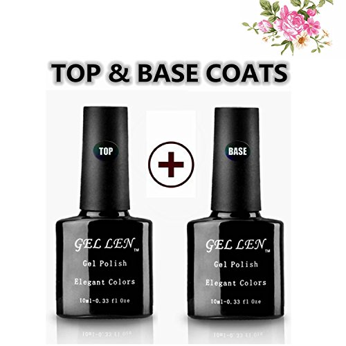 Gellen Soak Off Gel Base & Top Coats 10ml Each Color Transpa