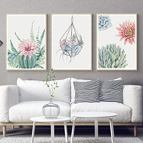 TLLZSH Painting Prints On Canvas,3Pcs/Set Cactus Hanging Paintings Hd Printed Artwork Core Posters for Living Room Home Office Porch Study No Frame 20×30Cm ()