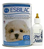 Esbilac Puppy Milk Replacement Powder 12 oz with Four Paws Pet Nurser Bottle Bundle For Sale