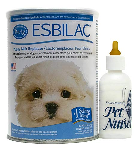 Esbilac Puppy Milk Replacement Powder 12 oz with Four Paws Pet Nurser Bottle Bundle (Esbilac Milk Replacer Powder)