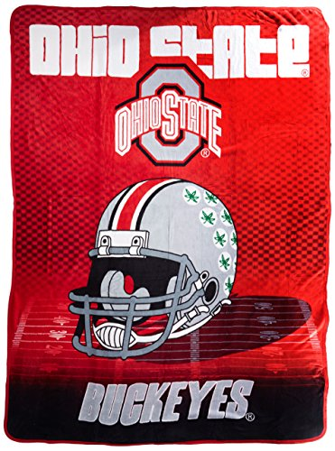 Officially Licensed NCAA Ohio State Buckeyes Overtime Micro Raschel Throw Blanket, 60
