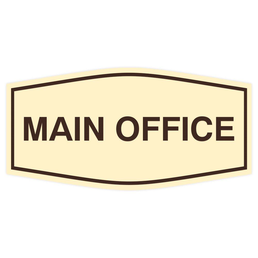 Fancy Main Office Sign (Ivory/Brown) - Large