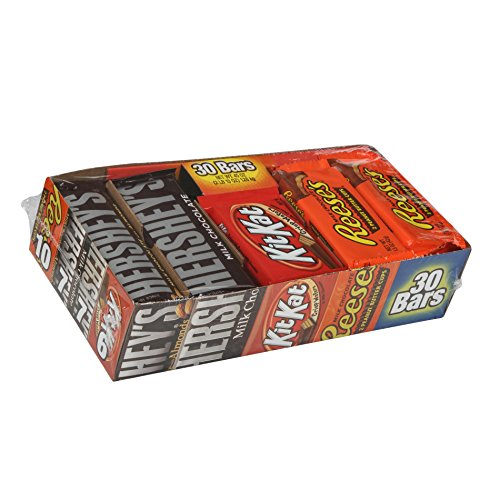 Hershey Chocolate Candy bar Assorted Variety Pack (HERSHEY'S Milk Chocolate, HERSHEY'S Milk Chocolate Almond, KIT KAT, REESE'S Cups), Full Size, 30Count]()