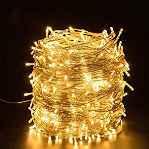 Quntis 328ft 500 Leds Christmas Lights, Warm White Fairy Lights Plug in with 8 Flashing Modes and Memory Function…