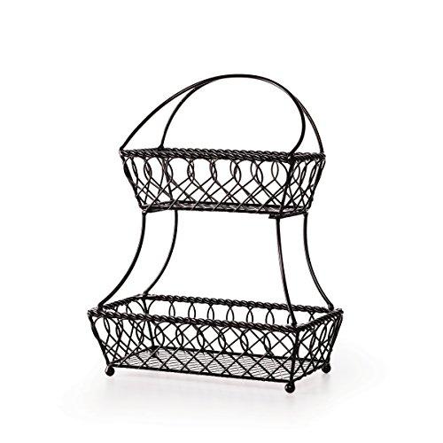 Pfaltzgraff 5214229 Loop and Lattice 2-Tier Flatback Metal Countertop Fruit Basket, 18-Inch, Antique Black